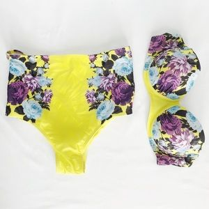 Other - NWOT Retro Inspo Yellow Floral High Waisted Bikini